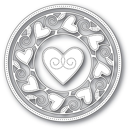 94106 Pinpoint Heart Circle Frame craft die