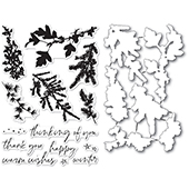 CL5235-D Winter Greenery clear stamp and die set