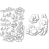 CL5255-D Peony Garden Corner clear stamp and die set