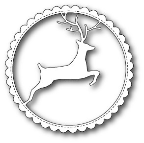 99502 Reindeer Scalloped Circle Frame craft die